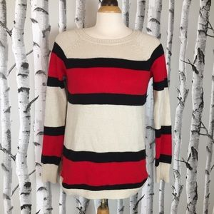 Cotton Blend Black&Red Stripped Crew Neck Sweater